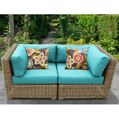 Cape Cod Outdoor Wicker Patio 2 Piece Deep Seating Group with Cushion Fabric: Aruba