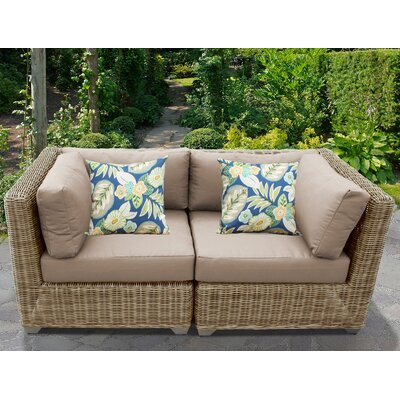 Cape Cod Outdoor Wicker Patio 2 Piece Deep Seating Group with Cushion Fabric: Wheat