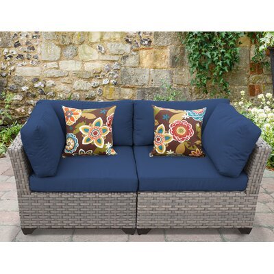 Monterey 2 Piece Deep Seating Group with Cushion Fabric: Navy