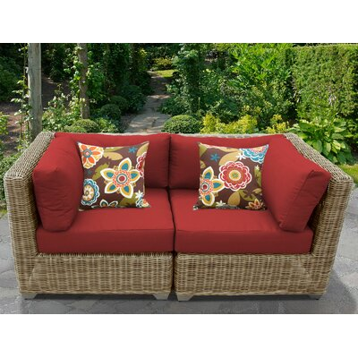 Cape Cod Outdoor Wicker Patio 2 Piece Deep Seating Group with Cushion Fabric: Terracotta