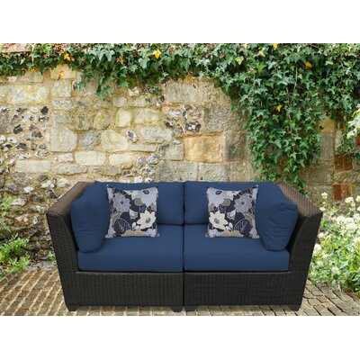 Barbados Outdoor Wicker Patio 2 Piece Deep Seating Group with Cushion Fabric: Navy