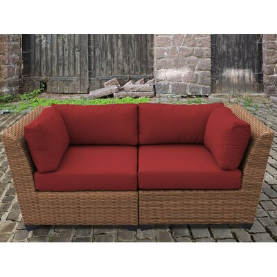 Laguna Outdoor Wicker Patio 2 Piece Deep Seating Group with Cushion Fabric: Terracotta