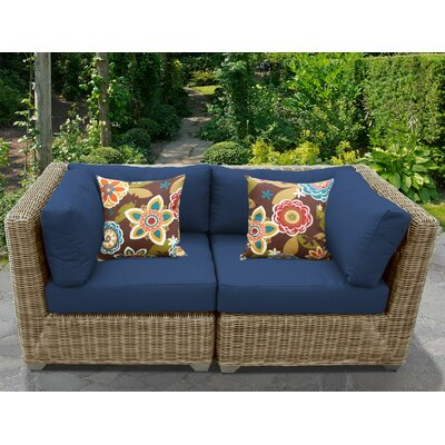 Cape Cod Outdoor Wicker Patio 2 Piece Deep Seating Group with Cushion Fabric: Navy