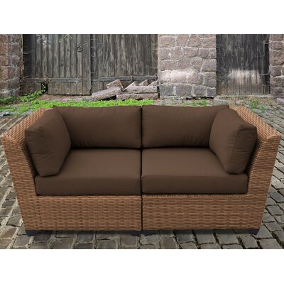 Laguna Outdoor Wicker Patio 2 Piece Deep Seating Group with Cushion Fabric: Cocoa
