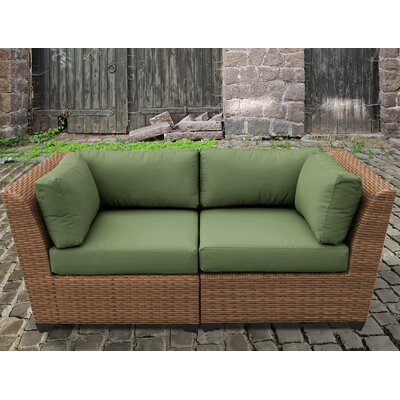 Laguna Outdoor Wicker Patio 2 Piece Deep Seating Group with Cushion Fabric: Cilantro