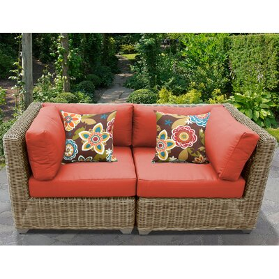 Cape Cod Outdoor Wicker Patio 2 Piece Deep Seating Group with Cushion Fabric: Tangerine