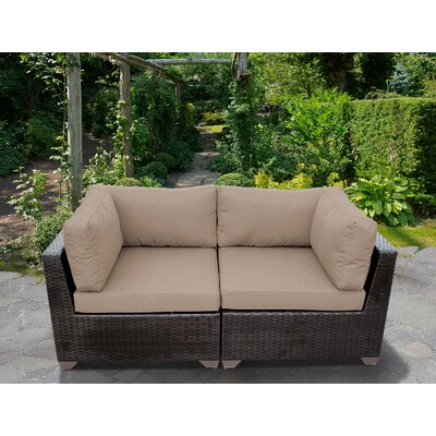 Belle Outdoor Wicker Patio 2 Piece Deep Seating Group with Cushion Fabric: Wheat