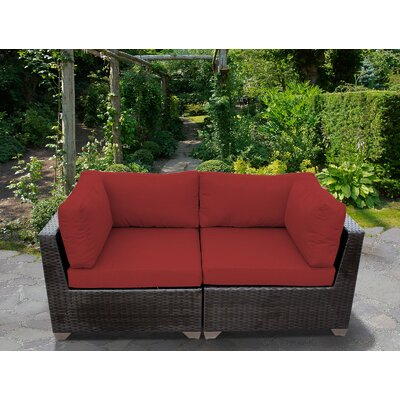 Belle Outdoor Wicker Patio 2 Piece Deep Seating Group with Cushion Fabric: Terracotta
