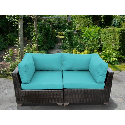 Belle Outdoor Wicker Patio 2 Piece Deep Seating Group with Cushion Fabric: Aruba