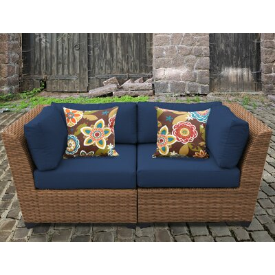 Laguna Outdoor Wicker Patio 2 Piece Deep Seating Group with Cushion Fabric: Navy