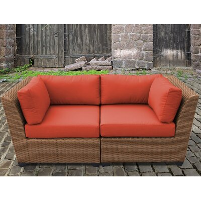 Laguna Outdoor Wicker Patio 2 Piece Deep Seating Group with Cushion Fabric: Tangerine