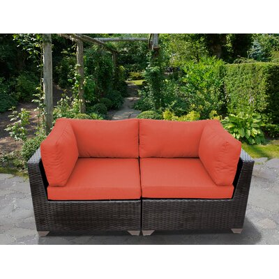 Belle Outdoor Wicker Patio 2 Piece Deep Seating Group with Cushion Fabric: Tangerine