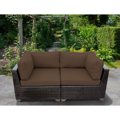 Belle Outdoor Wicker Patio 2 Piece Deep Seating Group with Cushion Fabric: Cocoa