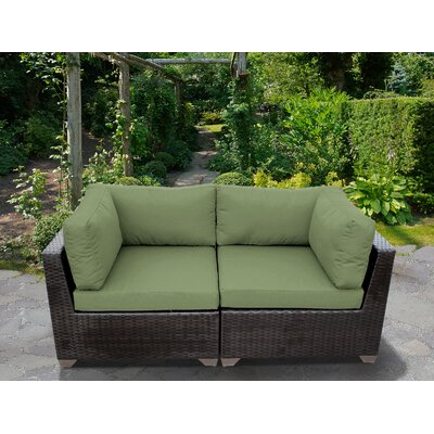 Belle Outdoor Wicker Patio 2 Piece Deep Seating Group with Cushion Fabric: Cilantro