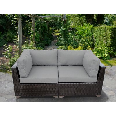 Belle Outdoor Wicker Patio 2 Piece Deep Seating Group with Cushion Fabric: Gray