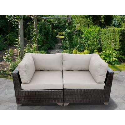 Belle Outdoor Wicker Patio 2 Piece Deep Seating Group with Cushion Fabric: Beige