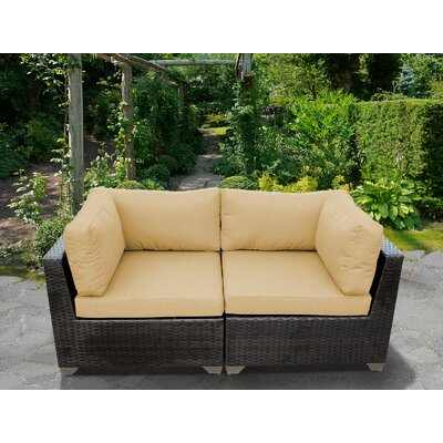Belle Outdoor Wicker Patio 2 Piece Deep Seating Group with Cushion Fabric: Sesame