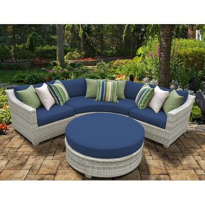 Fairmont 4 Piece Deep Seating Group with Cushion Fabric: Navy