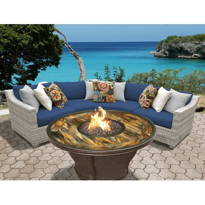 Fairmont Outdoor Wicker 4 Piece Fire Pit Seating Group with Cushion Fabric: Navy