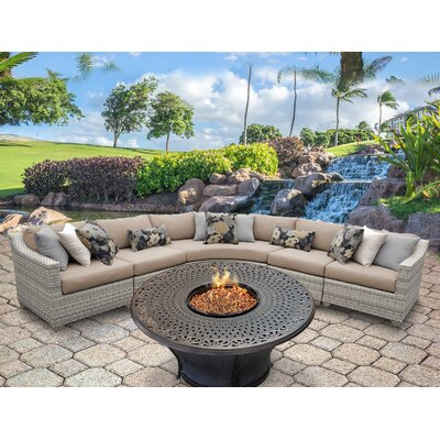 Fairmont Outdoor Wicker 6 Piece Fire Pit Seating Group with Cushion Fabric: Wheat