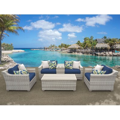 Fairmont 6 Piece Deep Seating Group with Cushion Fabric: Navy