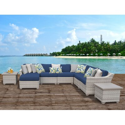 Fairmont Outdoor Wicker 9 Piece Sectional Seating Group with Cushion Fabric: Navy