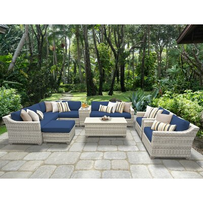 Fairmont 12 Piece Sectional Seating Group with Cushion Fabric: Navy
