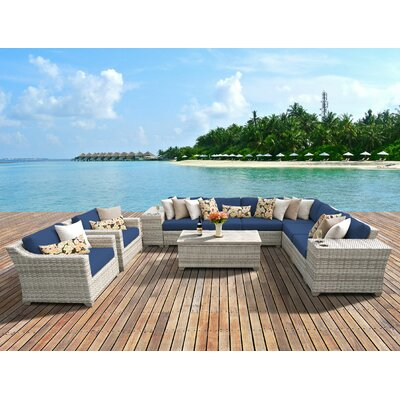 Fairmont 11 Piece Deep Seating Group with Cushion Fabric: Navy