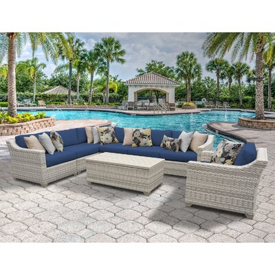 Fairmont 8 Piece Sectional Seating Group with Cushion Fabric: Navy