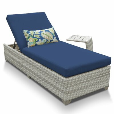 Fairmont 2 Piece Chaise Lounge Set with Cushion Fabric: Navy