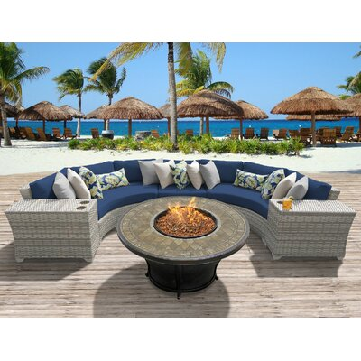 Fairmont Outdoor Wicker 6 Piece Fire Pit Seating Group with Cushion Fabric: Navy
