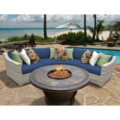 Fairmont 4 Piece Fire Pit Seating Group with Cushion Fabric: Navy