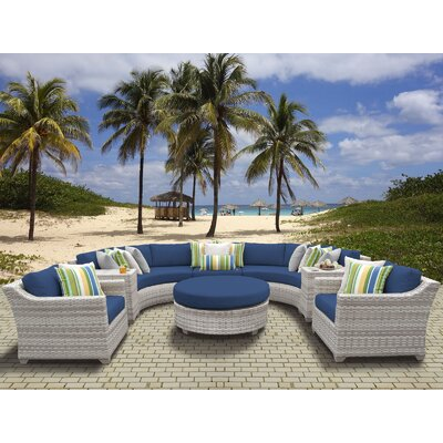 Fairmont Outdoor Wicker 8 Piece Sectional Seating Group with Cushion Fabric: Navy