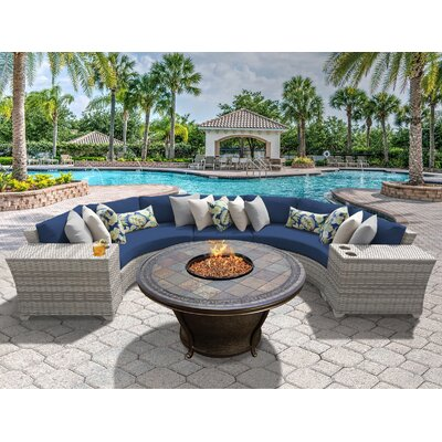 Fairmont 6 Piece Fire Pit Seating Group with Cushion Fabric: Navy