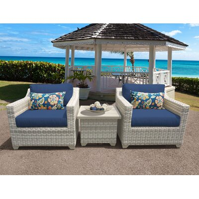 Fairmont 3 Piece Deep Seating Group with Cushion Fabric: Navy
