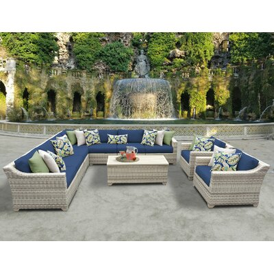 Fairmont 10 Piece Sectional Seating Group with Cushion Fabric: Navy