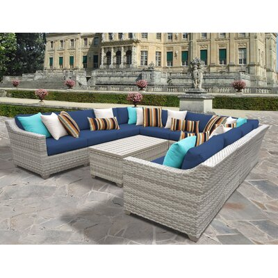 Fairmont 11 Piece Sectional Seating Group with Cushion Fabric: Navy