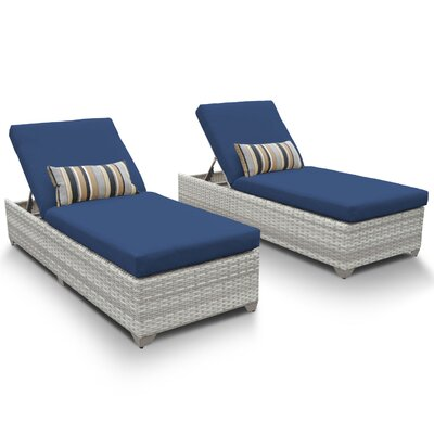 Fairmont Chaise Lounge with Cushion Fabric: Navy