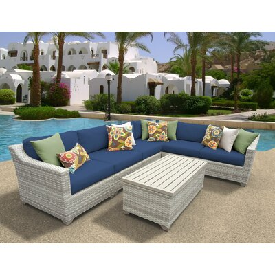 Fairmont 7 Piece Sectional Seating Group with Cushion Fabric: Navy