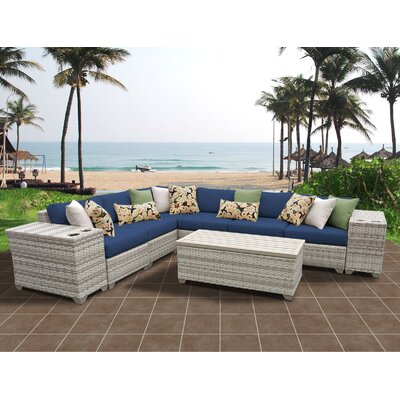 Fairmont 9 Piece Sectional Seating Group with Cushion Fabric: Navy