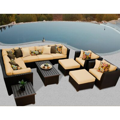 Barbados 12 Piece Sectional Seating Group with Cushion Fabric: Sesame