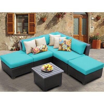 Barbados 6 Piece Deep Seating Group with Cushion Fabric: Aruba