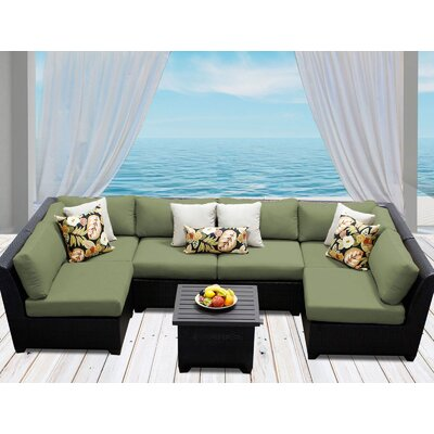 Barbados 7 Piece Deep Seating Group with Cushion Fabric: Cilantro