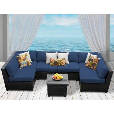 Barbados 7 Piece Deep Seating Group with Cushion Fabric: Navy