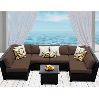 Barbados 7 Piece Deep Seating Group with Cushion Fabric: Cocoa