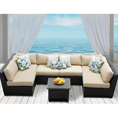 Barbados 7 Piece Deep Seating Group with Cushion Fabric: Wheat