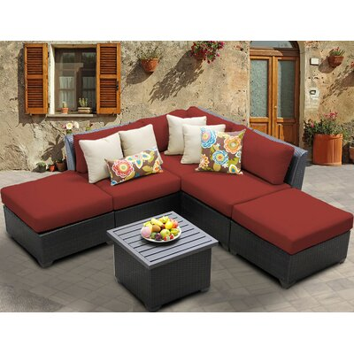 Barbados 6 Piece Deep Seating Group with Cushion Fabric: Terracotta