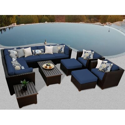 Barbados 12 Piece Sectional Seating Group with Cushion Fabric: Navy