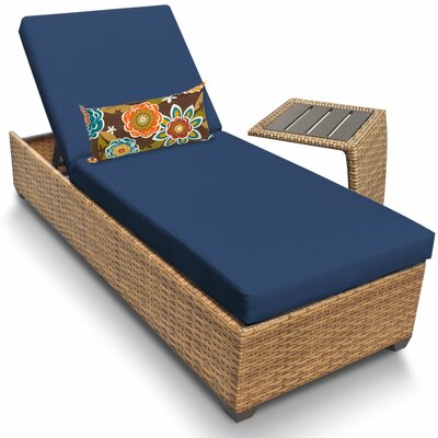 Laguna 2 Piece Chaise Lounge Set with Cushion Fabric: Navy