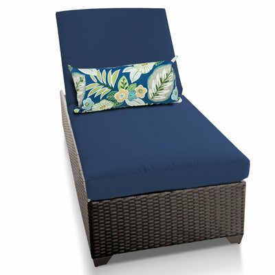 Classic Chaise Lounge with Cushions Fabric: Navy